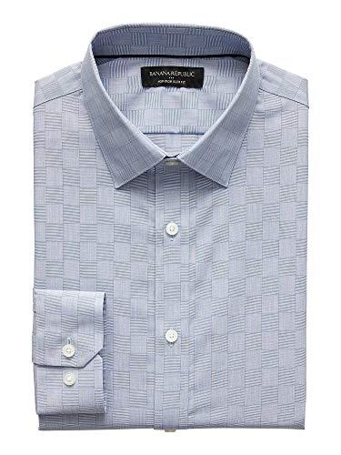- Banana Reublic Mens Slim-Fit Non-Iron Yarn Dye Shirt, Blue Plaid (L)