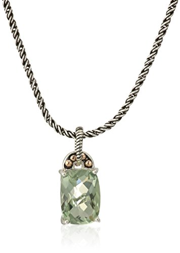 Effy Womens 925 Sterling Silver/18K Yellow Gold Green Amethyst Pendant Necklace, 18