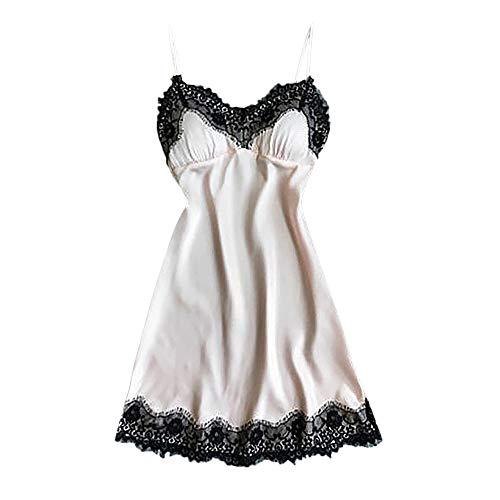 HULKAY Lace Strap Nightdress Pajamas for Women Sexy Lingerie Satin Robe Babydoll Sleepwear Dress(Beige,2XL) ()