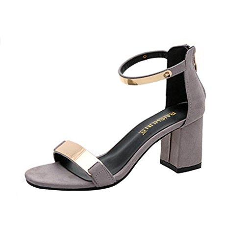 Elevin (tm) Donna Estate Moda Open-toe Peep-toe Tacco Alto Pompe Gladiatore Sandali Scarpe Grigie
