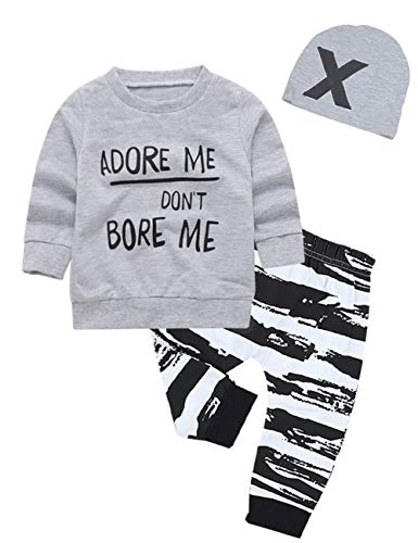 (Baby Boy Girl Clothes Long Sleeve Hoodie Sweatshirt with Striped Pants 2Pcs Outfit Set (C-Grey, 6-12 Months))