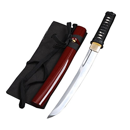 SJ SHI JIAN Short Bo-Hi Fully Hand-Forged Japanese Samurai Tanto Small Sword Full Tang Unokubitsukuri Carbon Steel Blade (Short Japanese Sword)