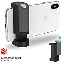 ShutterGrip Ergonomic Secured Handgrip Shutter Remote Bluetooth Stable Shots Selfies for Smartphones iPhones Android - Black