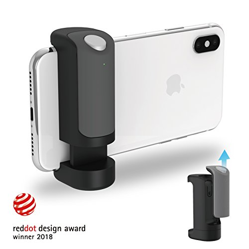 ShutterGrip Secure Camera Handle with Removable Bluetooth Remote Clicker, Tripod Compatible Bluetooth Camera Remote for iPhone, Android, and Smartphones