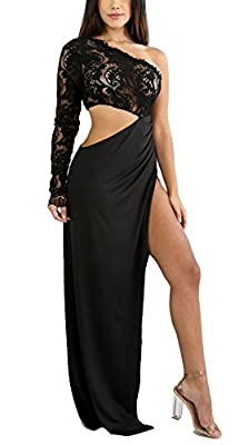 Remelon Womens One Shoulder Long Sleeve Lace Cut Out Ruched High Slit Maxi Dress