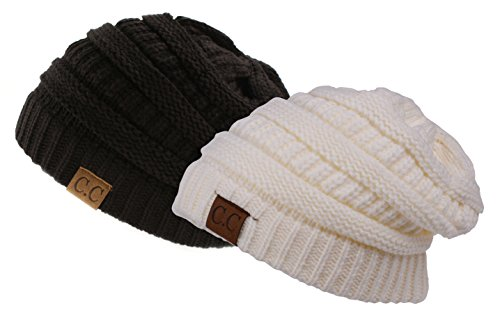 Trendy Warm Chunky Soft Stretch Cable Knit Slouchy Beanie Skully, Gift Set-Black & Ivory, One Size