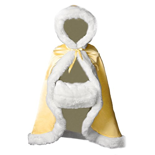 BEAUTELICATE Flower Girl Cape Winter Wedding Cloak for Infant Junior Bridesmaid Hooded Reversible Yellow 22