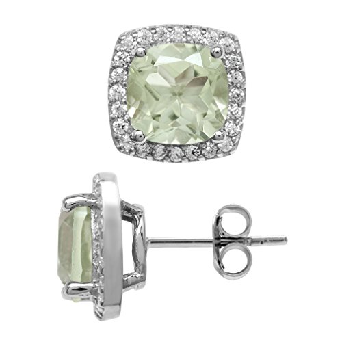 4.12ct Natural Cushion Shape Green Amethyst White Gold Plated 925 Sterling Silver Halo Stud Earrings