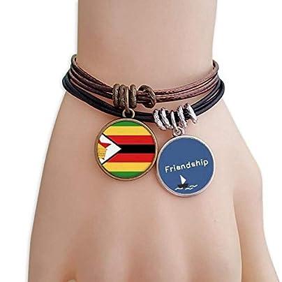 YMNW Zimbabwe National Flag Africa Country Friendship Bracelet Leather Rope Wristband Couple Set Estimated Price -