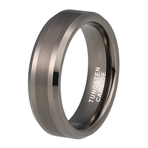 iTungsten 6mm 8mm Gunmetal Tungsten Rings for Men Women Wedding Bands Polished Matte Finish Beveled Edges Comfort Fit (Polished Beveled Band)