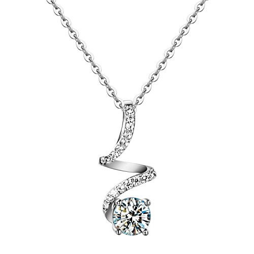 Carleen Sterling Silver Cubic Zirconia Pendant Necklaces for Women, Pendant for Daily Life, Gift, Wedding