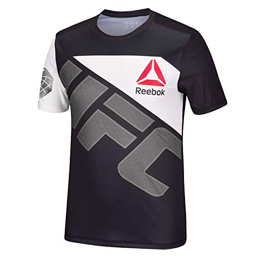 (Reebok Official UFC Fight KIT Fight Night Walkout Jersey Chuck Iceman Liddell Black Silver Mens Athletic FIT DRYTECH Shirt (X-Small))