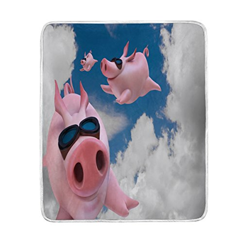 ALAZA Home Decor Blue Sky Pig Piggy Flying Blanket Soft Warm Blankets for Bed Couch Sofa Lightweight Travelling Camping 60 x 50 Inch Throw Size for Kids Boys Women for $<!--$34.50-->