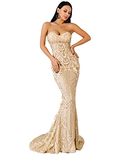Bustier Floor Length Dress - Miss ord Women Bustier Strapless Off Shoulder Glitter Bodycon Mermaid Cocktail Dress Gold M