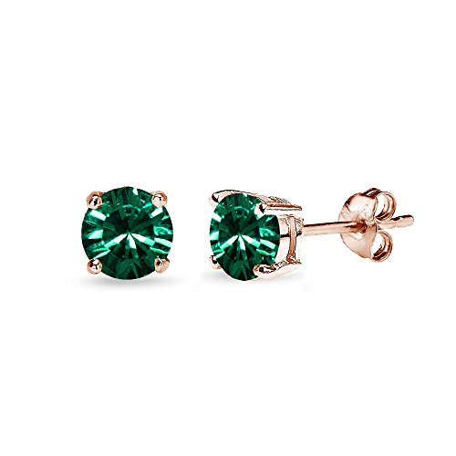 Rose Gold Flashed Sterling Silver 5mm Round Green Stud Earrings created with Swarovski Crystals