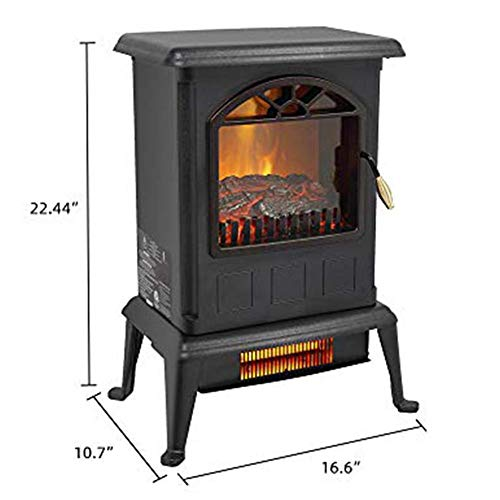 Lovinland 1500W Electric Fireplace Heater Electric Fireplace Stove 2 Heat Setting Infraed Space Heater for Home Office Indoor Use