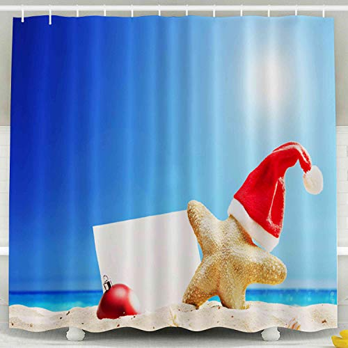 Shorping Kid Shower Curtain, Shower Curtain Set with Hooks,72x72inches Starfish Santa Hat Blank Paper Stuck Beach Sunny Summer Day Waterproof Decor Bathroom