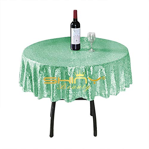 ShinyBeauty Sequin Tablecloth-Mint-48Inch Round Sparkle Tablecloth,Glitter Table Cloth,Sequin