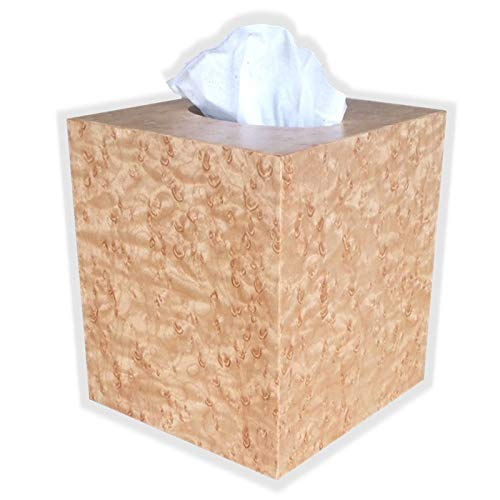 Wooden Tissue Box Cover in Birdseye Maple Boutique Square Cube Size.