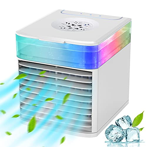 Portable Air Conditioner Fan, Mini Personal Air Cooler Fan with 3 Speed Mode, Small Humidifier Air Cooler Desk Table Fan…