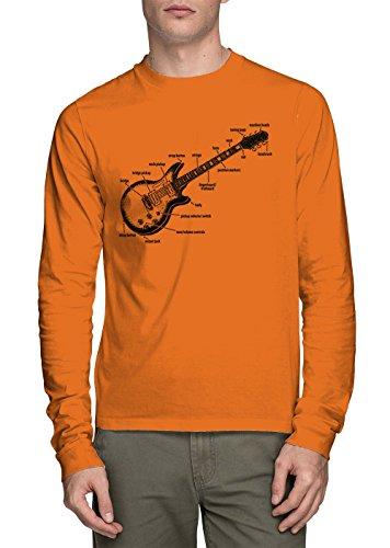 Long Sleeve Men's Anatomy of A Guitar Shirt (Orange, XXX-Large) -