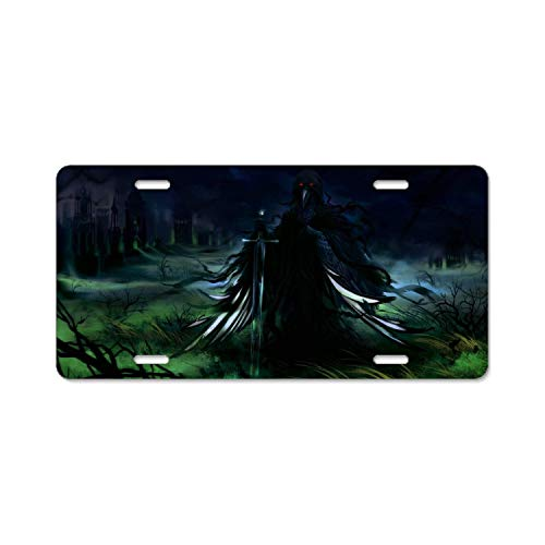 "YEX Abstract Dark Warrior Sword Creature Beak Red Eyes3 License Plate Frame Car License Plate Covers Auto Tag Holder 6"" x 12"""