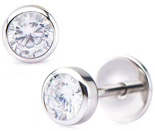 ComfyEarrings CZ Crystal Bezel Stud Earrings