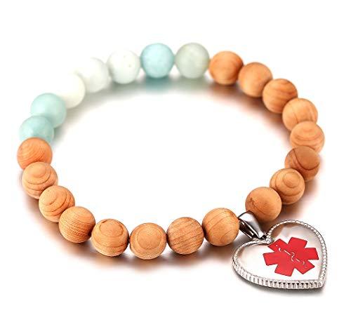 Bracelet Beaded Medical - JF.JEWELRY Custom Engraving Medical Alert ID Elastic Beaded Bracelet for Women