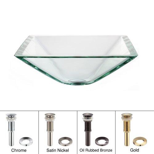 Kraus GVS-901-19mm-SN Aquamarine Square Clear Glass Vessel Bathroom Sink with PU-MR Satin Nickel
