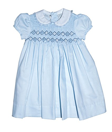 Carriage Boutique Baby Girl's Hand Smocked Dress With Hand Embroidery 9 Months Blue
