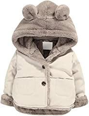 NinkyNonk Toddler Fleece Jacket, Warm Cotton Baby Winter Coats, Kids Hooded Outerwear for Boys Girls