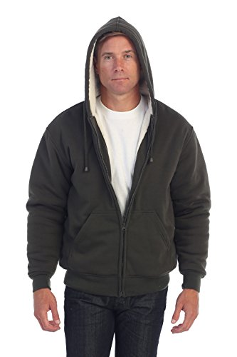 Gioberti Mens Sherpa Lined Pull Zip Fleece Hoodie Jacket, Olive, - Sherpa Green