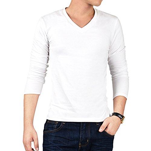 V-neck Cotton Boxers - Colyanda Men's Basic Solid V-neck Cotton Long-Sleeve Top(White M)