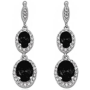 Dangle Simulated Gemstone & Cubic Zirconia .925 Sterling Silver Elegant Earrings 3.5