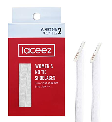 LACEEZ Elastic No-Tie Shoelaces for Women Shoes- White - Flat Laces For Casual, Athletic, Lifestyle Sneakers