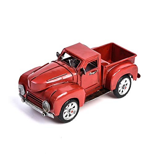 Vintage Red Metal Truck QBOSO Pick-Up Die Cast Collectible Truck Home Decor,Ornament ,Desktop Decoration ()