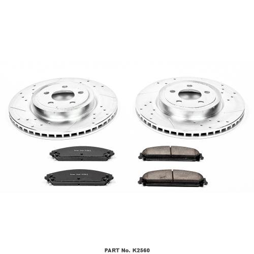 Power Stop K2560 Front Z23 Evolution Brake Kit with Drilled/Slotted Rotors and Ceramic Brake Pads - Rear Rotor Dodge Charger