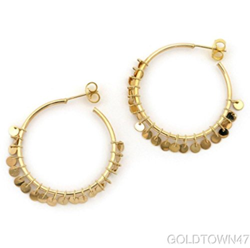 14k Yellow Gold Round Tube Hoop Earring with Small Multi Dangle Disc On Rings