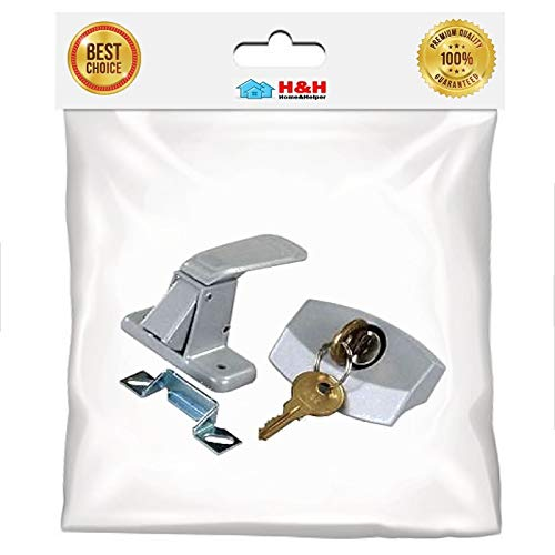 (H&H) New Aluminum Low Profile Door Lock (Camper Locking Entry Door Handle) (1set) (Coleman Pop Up Camper Parts And Accessories)