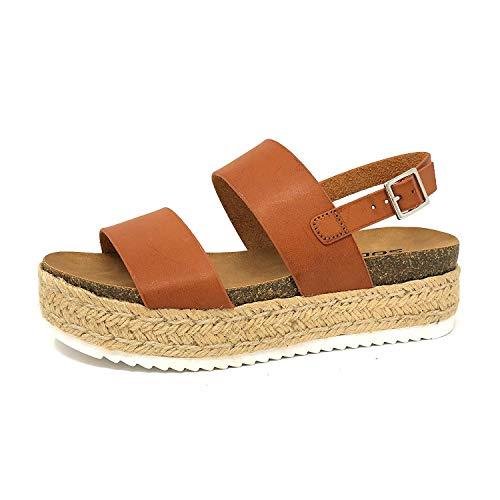 SODA Women's Open Toe Ankle Strap Espadrille Sandal Tan K 11 M -