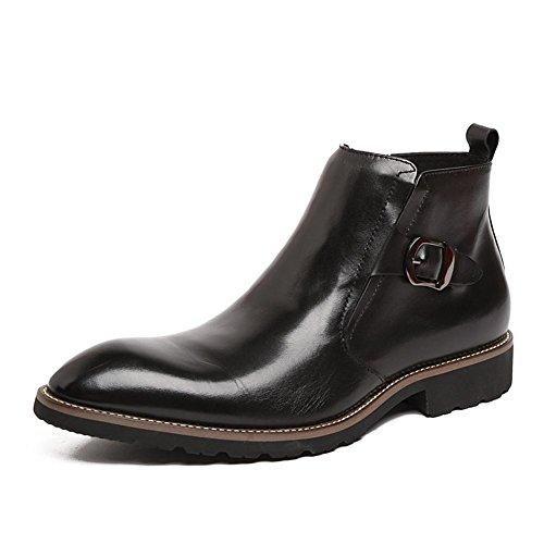 Invierno Hombres Cuero Botas Vestir Cómodo Negocio Formal Cremallera Casual Negro marrón Oxfords Otoño tamaño 37-44 Black