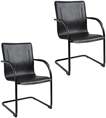Boss Office Products Black Frame Black Vinyl Side Chair 2 Pack