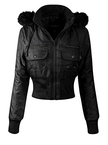 Detachable Faux Fur (Instar Mode Women's Casual Warm Quilted Puffer Jacket with Detachable Faux Fur Hood Black M)