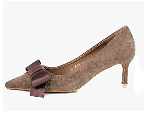 MDRW-Lady/Elegante/Trabajo/Ocio/Muelle Señoras Temperamento Temperamento Temperamento Caqui Zapatos De Tacón De 6Cm De Punta Arco Dulce Boca Superficial Con Una Fina Parte Zapatos Zapatos 37 fe2894