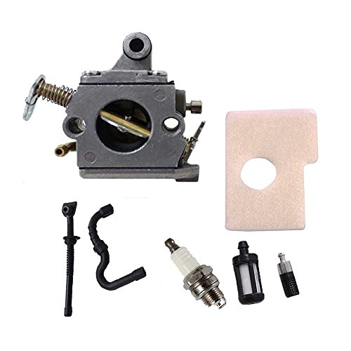 Savior C1Q-S57B Replacement Carburetor with Fuel Oil Filter Fuel Oil Line Spark Plug Air Filter for STIHL MS170 MS180 017 018 Carb Zama Chainsaw 1130-120-0603