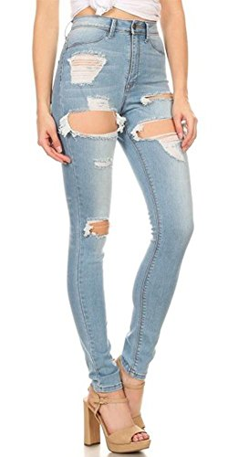 f09e5c99a170c Monotiques Women s Ripped Distressed Skinny Denim Jeans - Buy Online ...