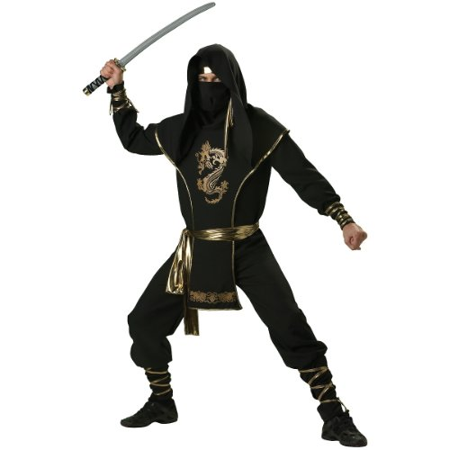 InCharacter Costumes Men's Ninja Warrior Costume, Black/Gold, Medium -