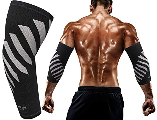 Physix Gear Elbow Brace Compression Sleeve - Neoprene Arm Support for Weightlifting, Tendonitis Pain, Tennis Elbow, Golfers Elbow, Arthritis, Bursitis, Basketball, Football - Unisex - 1 Pack Grey XL