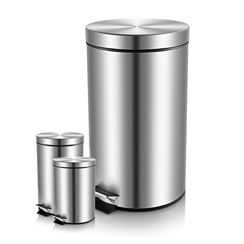 Malmo B4300 Set of 3 Brushed Stainless Steel Round Step Trash Can With Lid (Wastebasket Round Steel)