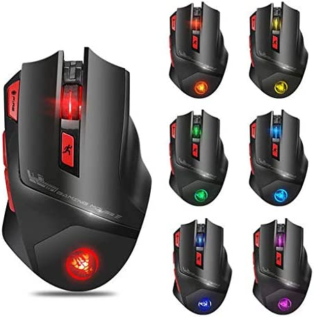 Lyperkin Wireless Mouse Computer 5 DPI Levels 2.4Ghz Rechargeable Optical Wireless Gaming Mouse LED Backlit Gaming Mouse with USB Nano Receiver Laptop Mac PC ect 7 Buttons Ideal for Notebook